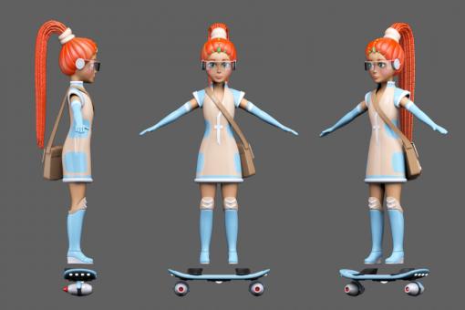 Фрида с сумкой и новым скейтом